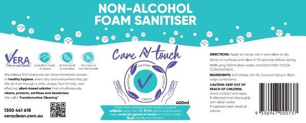 label for alcohol-free natural sanitiser
